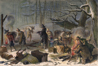 0009333 © Granger - Historical Picture ArchivePILGRIMS: FIRST WINTER, 1620.   The first winter of the Pilgrims in Massachusetts, 1620. Line engraving, 19th century.
