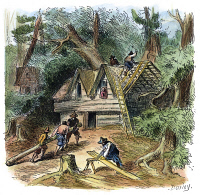 0009524 © Granger - Historical Picture ArchiveBUILDING HOUSES, 17TH C.   Pilgrims building houses at Plymouth, Massachusetts: colored engraving, 19th century.