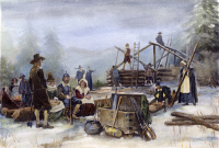 0009809 © Granger - Historical Picture ArchiveDELAND: NEW ENGLAND, c1904.   'The Beginning of New England.' Oil on canvas by Clyde O. DeLand, c1904.