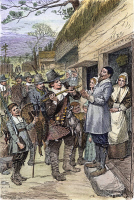 0034816 © Granger - Historical Picture ArchivePILGRIMS: THANKSGIVING, 1621.   'After the first harvest of the colonists at Plymouth, in 1621, Governor Bradford sent four men out fowling, that they