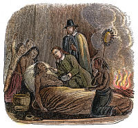 0040835 © Granger - Historical Picture ArchivePLYMOUTH: MASSASOIT, 1623.   Edward Winslow and John Hambden of Plymouth Colony nursing Massasoit on his sickbed, 1623. Wood engraving, 1853.