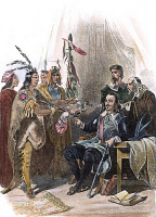 0059674 © Granger - Historical Picture ArchiveMASSASOIT & CARVER, 1620.   Wampanoag Native American chief Massasoit meeting with John Carver, the first governor of Plymouth colony, in 1620. Steel engraving, American, 19th century.