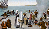 0075095 © Granger - Historical Picture ArchivePILGRIMS WASHING DAY, 1620.   The pilgrims' first washing day, Monday, 23rd November 1620 at Provincetown, Cape Cod, Massachusetts.