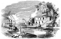 0004056 © Granger - Historical Picture ArchiveSOUTH: SUGAR PLANTATION.   A Louisiana planter's house and sugar plantation on the Mississippi River. Wood engraving, American, 1852.