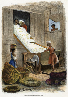 0010552 © Granger - Historical Picture ArchiveGINNING COTTON, 1854.   Ginning cotton on a plantation in the American South. Engraving, 1854.