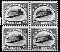 0080302 © Granger - Historical Picture ArchivePOSTAGE STAMP, 1918.   Block of four 1918 United States 24-cent Airmail Inverted Center, the most famous U.S. stamp error.