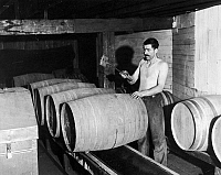 0129361 © Granger - Historical Picture ArchivePROHIBITION REPEAL, 1933.   In preparation for the repeal of prohibition, a worker empties barrels of whiskey into a container for bottling at the Joseph Finch Company, Schenley, Pennsylvania, 28 August 1933.