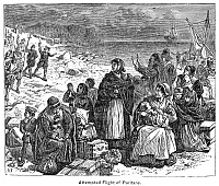 0016224 © Granger - Historical Picture ArchivePURITAN FLIGHT.   The attempted flight of Puritans from England. Line engraving, 19th century.