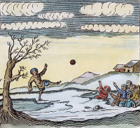 0038761 © Granger - Historical Picture ArchiveSABBATH BREAKERS, 1671.   Puritan boys playing football on a Sunday are drowned in an instance of divine retribution. Woodcut from 'Divine Examples of God's Severe Judgements upon Sabbath-Breakers,' 1671.