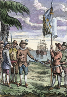 0059584 © Granger - Historical Picture ArchiveROANOKE FOUNDING, 1587.   The founding of the English colony at Roanoke Island in 1587. Contrary to the engraved legend, Sir Walter Raleigh, though the promoter of the expedition, remained home in England. English engraving, 18th century.