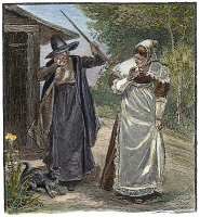 0010124 © Granger - Historical Picture ArchiveGOODWIFE WALFORD, 1692.   Goodwife Walford accused of witchcraft in Puritan New England. American engraving, 19th century.