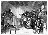 0090193 © Granger - Historical Picture ArchiveSALEM WITCH TRIALS, 1692.   The trial of a witch at the First Church of Salem, Massachusetts, in 1692. Etching, American, late 19th century.