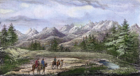 0064694 © Granger - Historical Picture ArchiveJOHN C. FREMONT EXPEDITION.   View of the Wind River Mountains in Wyoming. Lithograph, 1845, from John C. Fremont's 'Report of the exploring expedition to the Rocky Mountains in the year 1842...'