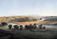 0091303 © Granger - Historical Picture ArchiveBEAR PAW MOUNTAINS, 1830s.   'View of the Bear Paw Mountains from Fort McKenzie.' Watercolor by Karl Bodmer, 1830s.