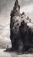 0091304 © Granger - Historical Picture ArchiveCITADEL ROCK, MONTANA.   'Citadel Rock in the Upper Missouri.' Watercolor by Karl Bodmer, 1830s.