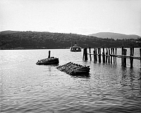 0118027 © Granger - Historical Picture ArchiveNEW YORK: HUDSON RIVER.   A view of the Hudson River at West Point with a ferry in the distance. Photographed by William Henry Jackson, late 19th century.