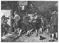 0075611 © Granger - Historical Picture ArchiveBRITISH PRESS-GANG, 1760s.   A press-gang operating in New York during the years leading up to the American Revolutionary War. Wood engraving after a drawing, 1879, by Howard Pyle.