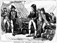 0125463 © Granger - Historical Picture ArchiveUSS CHESAPEAKE, 1807.   Captain James Barron of USS 'Chesapeake' offering his sword to Captain S.P. Humphreys, boarding from HMS 'Leopard,' following their engagement off Hampton Roads, Virginia, on 22 June 1807. Wood engraving, 19th century.