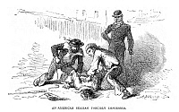 0128485 © Granger - Historical Picture ArchiveIMPRESSMENT OF SEAMEN.   An American seaman being forcibly impressed by an English press gang prior to the War of 1812. Wood engraving, American, 1877.