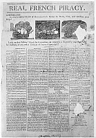 0129913 © Granger - Historical Picture ArchiveFEDERALIST BROADSIDE, 1808.   'Real French Piracy.'  Broadside distributed by Boston Fedralists in 1808, designed to convince Massachusetts voters that France, not Britain, was the real enemy of the United States.