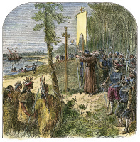 0009599 © Granger - Historical Picture ArchiveMARYLAND: FIRST MASS, 1634.   The Planting of the Colony of Maryland (the first Mass, 25 March 1634). Color engraving, 19th century.