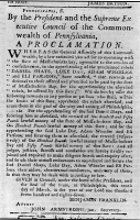 0622047 © Granger - Historical Picture ArchiveSHAYS' REBELLION, 1786.   Proclamation by the State of Pennsylvania offering a reward for Daniel Shays and three other leaders of Shays' Rebellion of 1786. Signed by Benjamin Franklin, 19 May 1787.