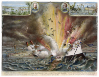 0009455 © Granger - Historical Picture ArchiveCUBA: U.S.S. MAINE, 1898.   Destruction of the U.S. Battleship Maine in Havana Harbor, 15 February 1898. Contemporary lithograph by Kurz & Allison.