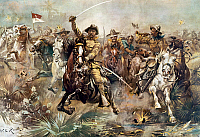 0011408 © Granger - Historical Picture ArchiveCUBA: ROUGH RIDERS, 1898.   'Teddy's Rough Riders.' Theodore Roosevelt leading his Rough Riders at the storming of San Juan Hill, Cuba, 1 July 1898. Contemporary lithograph by W.G. Read.