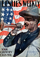0078404 © Granger - Historical Picture ArchiveSPANISH-AMERICAN WAR, 1898.   'Your Country Calls You.' Front page of 'Leslie's Weekly,' 30 June 1898, with an illustration by R.M. Wright, supporting the call for volunteers to fight in the war against Spain.