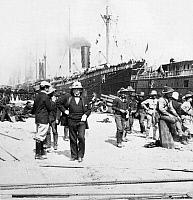 0125312 © Granger - Historical Picture ArchiveSPANISH-AMERICAN WAR, 1898.   Major General Nelson Appleton Miles and army transports at Port Tampa, Florida, to be deployed during the Spanish-American War, c1898.
