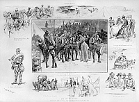 0173441 © Granger - Historical Picture ArchiveNEW YORK: CAMP WIKOFF, 1898.   'Life At Camp Wikoff,' at Montauk Point, Long Island, New York, where soldiers returning from the Spanish-American War were quarantined. Engraving and drawings by W.A. Rogers, 1898.