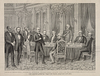0216897 © Granger - Historical Picture ArchiveTREATY OF PARIS, 1898.   The signing of the Treaty of Paris on 10 December 1898, which ended the Spanish-American War. Heading the American delegation is former Secretary of State William R. Day. Contemporary engraving.