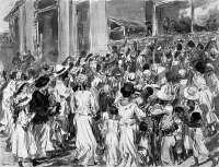 0622671 © Granger - Historical Picture ArchiveCUBAN REFUGEES, c1898.   Starving refugees from Santiago, seeking food at El Caney, Cuba, during the Spanish-American War. Pen and ink drawing by William Glackens, c1898.