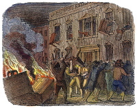 0009311 © Granger - Historical Picture ArchiveBOSTON: STAMP ACT RIOT, 1765.   Sons of Liberty protesting the Stamp Act by attacking the house of Lieutenant Governor Thomas Hutchinson at Boston on 26 August 1765. Color engraving, 19th century.
