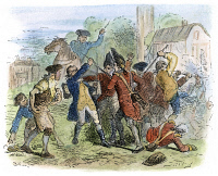 0054057 © Granger - Historical Picture ArchiveNEW YORK: COLONIAL RIOT.   A fracas between New Yorkers and British soldiers in 1766. The Americans had restored a Liberty Pole cut down by the redcoats. Wood engraving, 19th century, after Felix O.C. Darley.