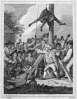0090166 © Granger - Historical Picture ArchiveSTAMP ACT, 1765.   Stamp agent strung up on a Liberty Pole during an anti-Stamp Act demonstration in the American colonies in 1765. Line engraving by Elkanah Tisdale, c1820, from an edition of John Trumbull's 'M'Fingal,' first published in 1775.
