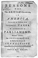 0109257 © Granger - Historical Picture ArchiveSTAMP ACT PAMPHLET, 1764.   'Reasons why the British Colonies in America Should not be charged with Internal Taxes by Authority of Parliament,' a pamphlet arguing against the Stamp Act, written by Connecticut governor Thomas Fitch, printed and sold by Benjamin Mecom, nephew of Benjamin Franklin.