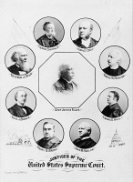 0371300 © Granger - Historical Picture ArchiveSUPREME COURT, 1896.   Portraits of the U.S. Supreme Court in 1896. Center: Chief Justice Melville Fuller. Clockwise from top left: George Shiras, Jr.; Horace Gray; Rufus W. Peckham; Edward D. White; John M. Harlan; Henry B. Brown; David J. Brewer; Stephen J. Field.