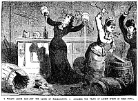 0012397 © Granger - Historical Picture ArchiveTEMPERANCE MOVEMENT, 1890.   'A woman's liquor raid - How the ladies of Fredericktown, Ohio, abolished the trafic of ardent spirits in their town.' Line engraving from the Police Gazette.
