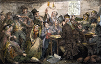 0032789 © Granger - Historical Picture ArchiveTEMPERANCE MOVEMENT, 1848.   'Between the Fine Flaring Gin Palace and the Low Dirty Beer Shop, The Boy Thief Squanders & Gambles Away Hils Ill-Gotten Gains.' Etching, 1848, by George Cruikshank from his series, 'The Drunkard's Children,' Plate II, on the evils of drink.