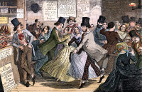 0032790 © Granger - Historical Picture ArchiveTEMPERANCE MOVEMENT, 1848.   'From the Gin Shop to the Dancing Rooms, from the Dancing Rooms to the Gin Shop, the Poor Girl is Driven on that Course which Ends in Misery.' Etching, 1848, by George Cruikshank from his series, 'The Drunkard's Children,' Plate III, on the evils of drink.