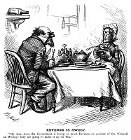 0265324 © Granger - Historical Picture ArchiveTEMPERANCE MOVEMENT, 1874.   'Revenge is Sweet.' Cartoon of a man telling his wife that since whiskey sales have dropped because of the temperance movement, the government will begin taxing tea. Cartoon by Thomas Nast, 1874.