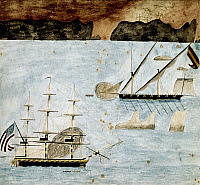 0103004 © Granger - Historical Picture ArchiveTRIPOLITAN WAR, 1804.   An American frigate battling a Barbary vessel during off the coast of Tripoli, 1804. Contemporary American painting.