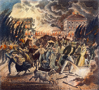 0008422 © Granger - Historical Picture ArchiveWASHINGTON BURNING, 1814.   Washingtonians fleeing the city during the burning of the White House and the Capitol by the British on 24 August 1814. Illustration by Joseph Boggs Beale.