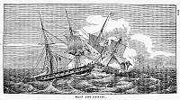 0075637 © Granger - Historical Picture ArchiveWAR OF 1812: NAVAL BATTLE.   The engagement between the American sloop-of-war 'Wasp,' under the command of Jacob Jones, and the British brig 'Frolic,' 18 October 1812. Line engraving, 1816.