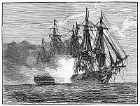 0090300 © Granger - Historical Picture ArchiveNAVAL BATTLE, 1813.   The American frigate USS 'Chesapeake' in conflict with HMS 'Shannon' off Boston Light, 1 June 1813. Line engraving, 19th century.