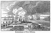 0090307 © Granger - Historical Picture ArchiveFORT McHENRY, 1814.   The bombardment of Fort McHenry, Baltimore, by the British Navy, 13-14 September 1814. Line engraving, 19th century.