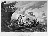 0125460 © Granger - Historical Picture ArchiveBATTLE OF LAKE ERIE, 1813.   Oliver Hazard Perry leaving his badly damaged flagship, the 'Lawrence,' for the 'Niagara' to continue fighting against the British at the Battle of Lake Erie, 10 September 1813. Steel engraving, American, 1877, after a painting by William Henry Powell.