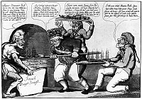 0126737 © Granger - Historical Picture ArchiveWAR OF 1812: CARTOON.   John Bull bakes a new batch of ships to send to the Great Lakes. American cartoon, by William Charles, c1813.