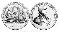 0126813 © Granger - Historical Picture ArchiveJACOB JONES (1768-1850).   Commodore of the United States Navy. Engraving of the gold medal awarded by Congress to Captain Jones for his feat, capturing the British brig 'Frolic' with his sloop-of-war 'Wasp,' 18 October 1812.'